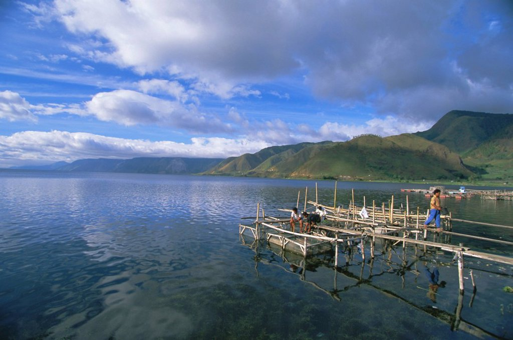 Stock Photo: 1890-88291 Fish rearing cages, Tongging, northern tip of Lake Toba, Southeast Asia´s largest lake, North Sumatra, Sumatra, Indonesia, Southeast Asia, Asia