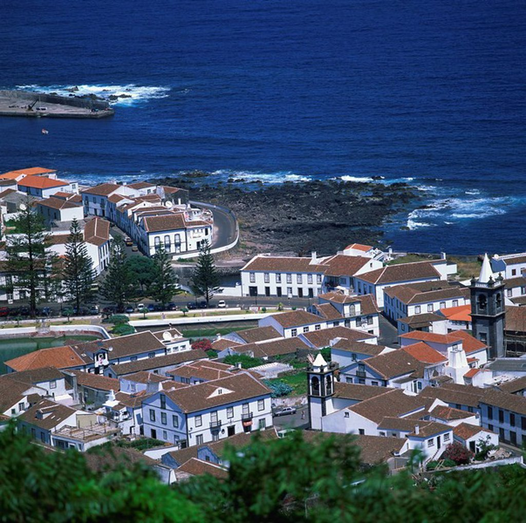 Stock Photo: 1890-8842 Houses and coastline in the town of Santa Cruz on the island of Graciosa in the Azores, Portugal, Atlantic, Europe