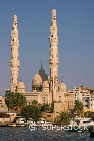 Stock Photo: 1890-88483 Port Fuad mosque and the Suez Canal, Port Said, Egypt, North Africa, Africa