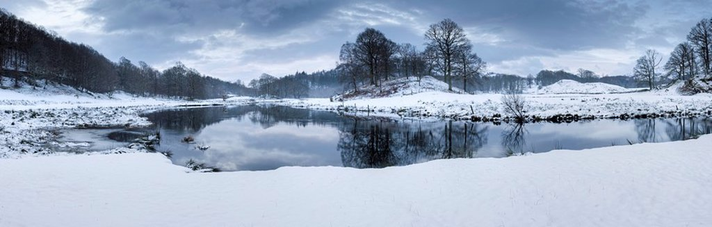 Stock Photo: 1890-88565 Winter view of River Brathay at dawn, under snow with reflections, near Elterwater Village, Ambleside, Lake District National Park, Cumbria, England, United Kingdom, Europe