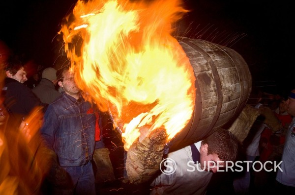 Stock Photo: 1890-88791 Rolling of the Tar Barrels, Ottery St. Mary, Devon, England, United Kingdom, Europe