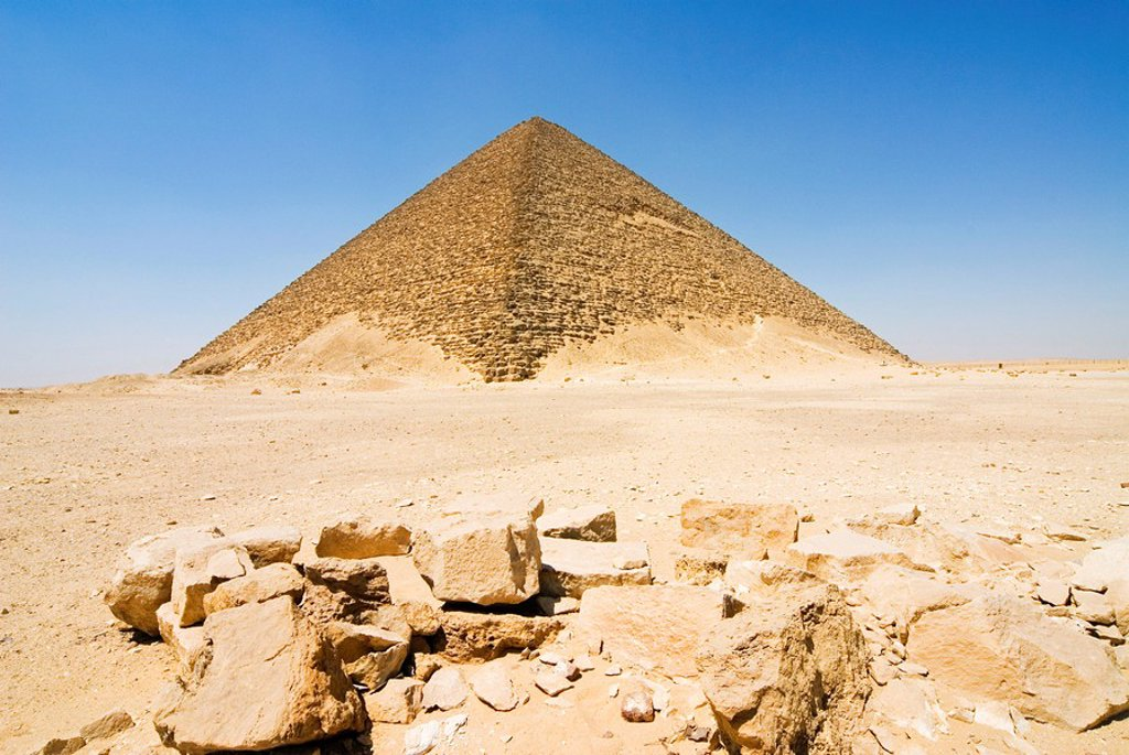 The Red Pyramid Senefru Pyramid, Dahshur, UNESCO World Heritage Site, near Cairo, Egypt, North Africa, Africa : Stock Photo