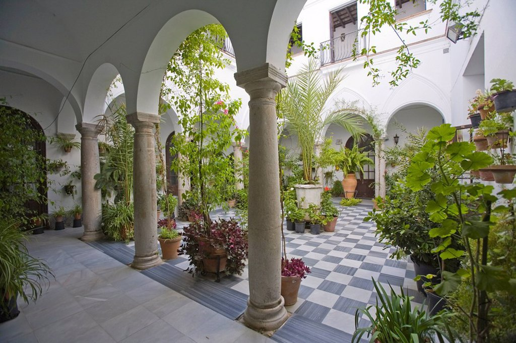 Courtyard, Arcos de la Frontera, one of the white villages, Andalucia, Spain, Europe : Stock Photo