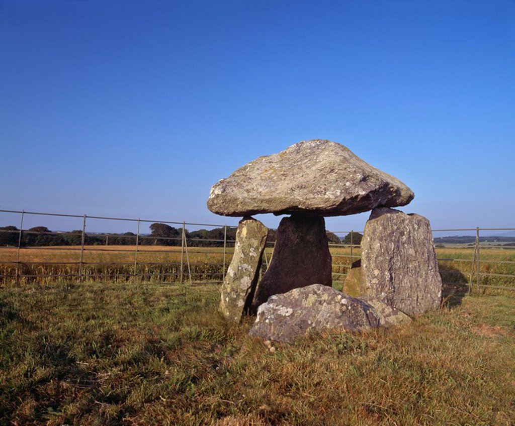 Stock Photo: 1890-89492 Neolithic burial chamber built between 4000 and 2000BC for communal burial of the dead, it would originally have been covered with earth or stones, Bodowyr Burial Chamber, Anglesey, North Wales, United Kingdom, Europe
