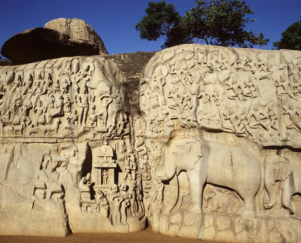 Arjuna´s Penance, Mahabalipuram, UNESCO World Heritage Site, Kancheepuram district, Tamil Nadu, India, Asia : Stock Photo