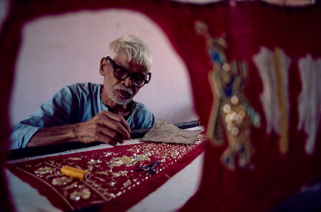 Intricate embroidery work, India, Asia : Stock Photo