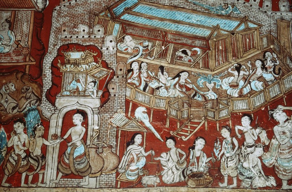 Stock Photo: 1890-89934 Mural showing the various business transactions of Bodhisatta, born into a treasurer´s family, Ananda Oakkyaung, Bagan Pagan, Myanmar Burma, Asia