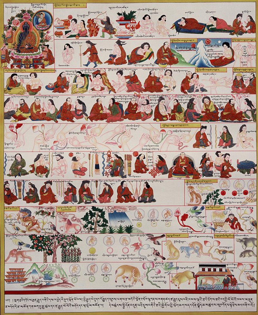 Stock Photo: 1890-90314 Manuscript on Tibetan Medicine and Healing