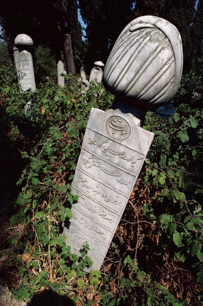 Tombstone in graveyard, Istanbul, Turkey, Europe : Stock Photo