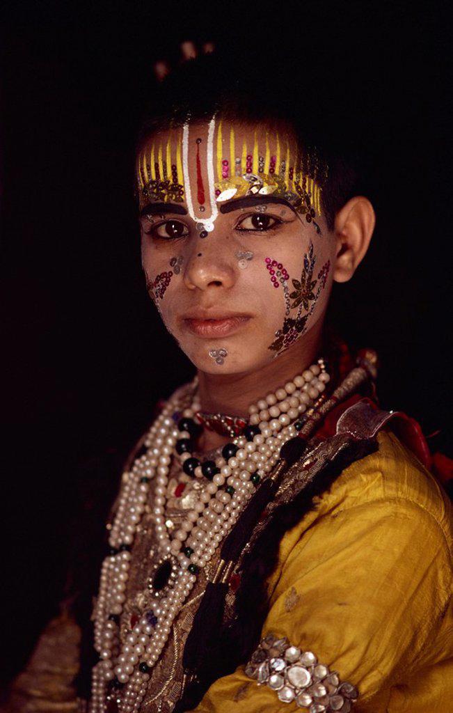 Stock Photo: 1890-9092 Rama, king and hero of the Ramlilla, the stage play of the Hindu epic the Ramayana, Varanasi, Uttar Pradesh state, India, Asia