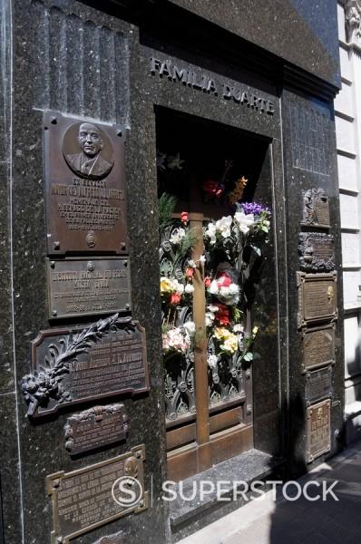 Stock Photo: 1890-91090 Grave of Eva Peron Evita, Cementerio de la Recoleta, Cemetery in Recoleta, Buenos Aires, Argentina, South America
