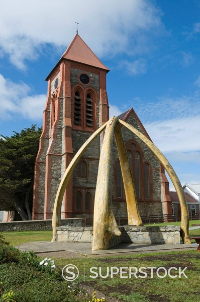 Stock Photo: 1890-91101 Cathedral and Whale Bone Arch, Port Stanley, Falkland Islands, South America