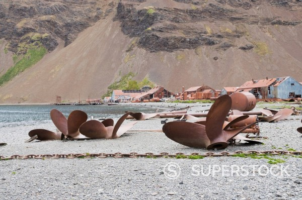 Stock Photo: 1890-91224 Propellers in front of old whaling station at Stromness Bay, South Georgia, South Atlantic