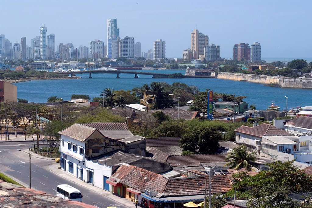 Stock Photo: 1890-91370 View from Fort San Felipe towards Boca Grande, Cartagena, Colombia, South America