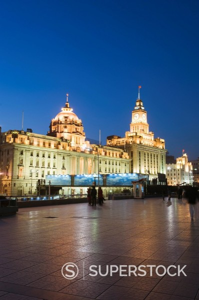 Historical colonial style buildings illuminated on The Bund, Shanghai, China, Asia : Stock Photo