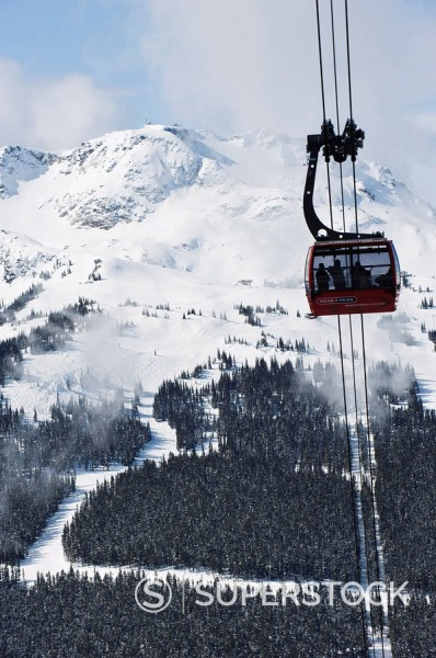 Stock Photo: 1890-92014 Whistler Blackcomb Peak 2 Peak Gondola, Whistler Mountain, 2010 Winter Olympic Games venue, British Columbia, Canada, North America