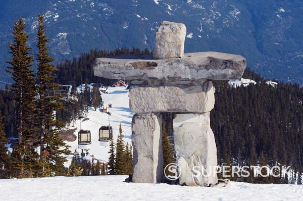 Stock Photo: 1890-92025 An Inuit Inukshuk stone statue, Whistler mountain resort, venue of the 2010 Winter Olympic Games, British Columbia, Canada, North America