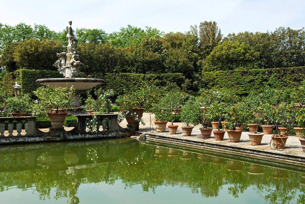 Stock Photo: 1890-92393 Fontana dell´Oceano, Boboli Garden, Florence Firenze, UNESCO World Heritage Site, Tuscany, Italy, Europe