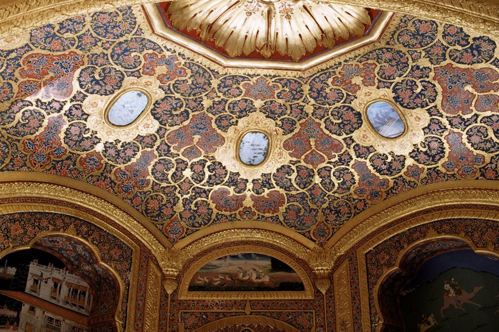 Stock Photo: 1890-9265 Detail of painted and gilded ceiling in the public reception area, Kuchaman Fort, Rajasthan state, India, Asia