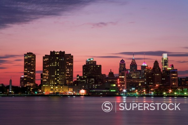 Philadelphia skyline and Delaware River, Philadelphia, Pennsylvania, United States of America : Stock Photo