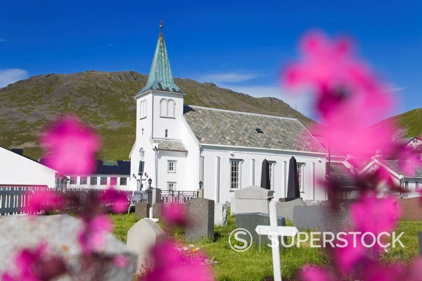 Honningsvag church and graveyard, Honningsvag Port, Mageroya Island, Finnmark Region, Arctic Ocean, Norway, Scandinavia, Europe : Stock Photo