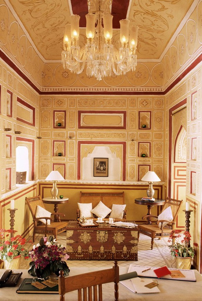 Reception area for arriving guests with reproduction colonial style furniture, painted walls and ceiling, Samode Palace Hotel, Samode, Rajasthan state, India, Asia : Stock Photo