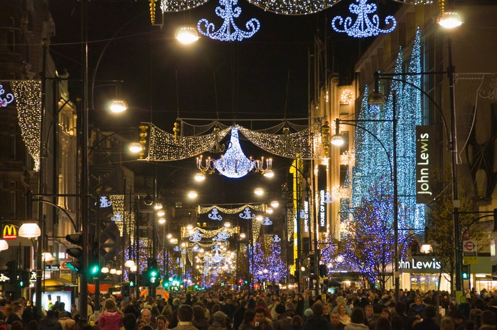 Stock Photo: 1890-93517 Christmas lights in Oxford Street, London, England, United Kingdom, Europe