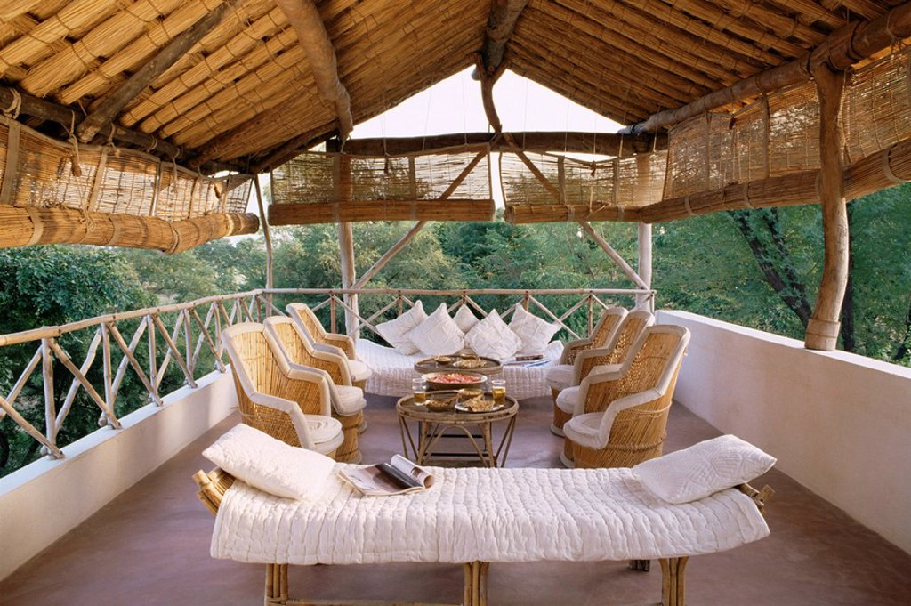 Stock Photo: 1890-9359 Seating area on the roof terrace of an old farm house conversion now a residential home, Amber, near Jaipur, Rajasthan state, India, Asia
