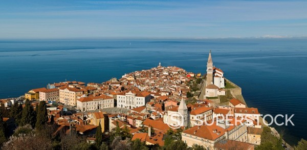 Stock Photo: 1890-93899 View from a hill overlooking the old town of Piran and St. George Church, Piran, Slovenvia, Europe
