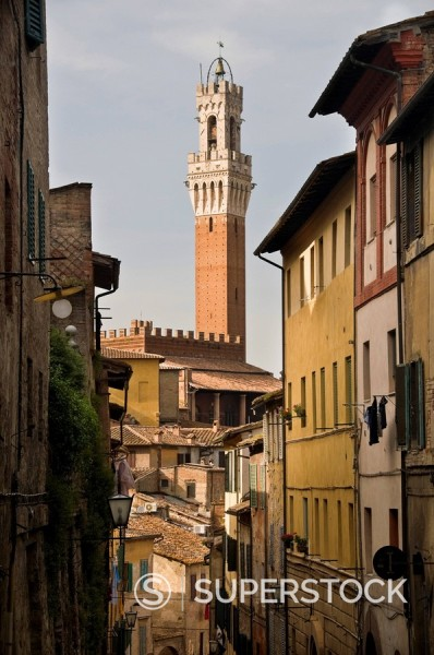 View of the Torre del Mangia and old streets in Siena, Tuscany, Italy, Europe : Stock Photo