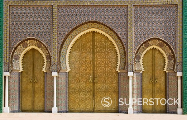 Stock Photo: 1890-93944 Ornate doorway at the Royal Palace, Fez, Morocco, North Africa, Africa
