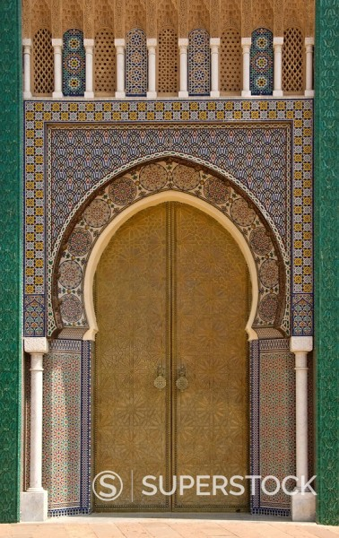 Ornate doorway at the Royal Palace, Fez, Morocco, North Africa, Africa : Stock Photo