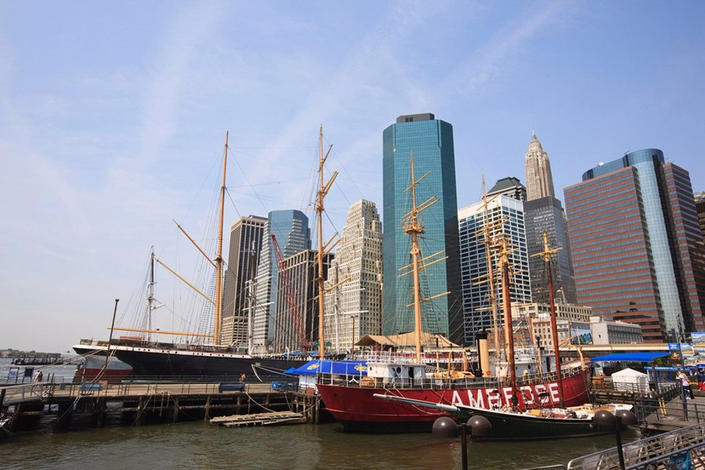 South Street Seaport and Lower Manhattan buildings, New York City, New York, United States of America, North America : Stock Photo