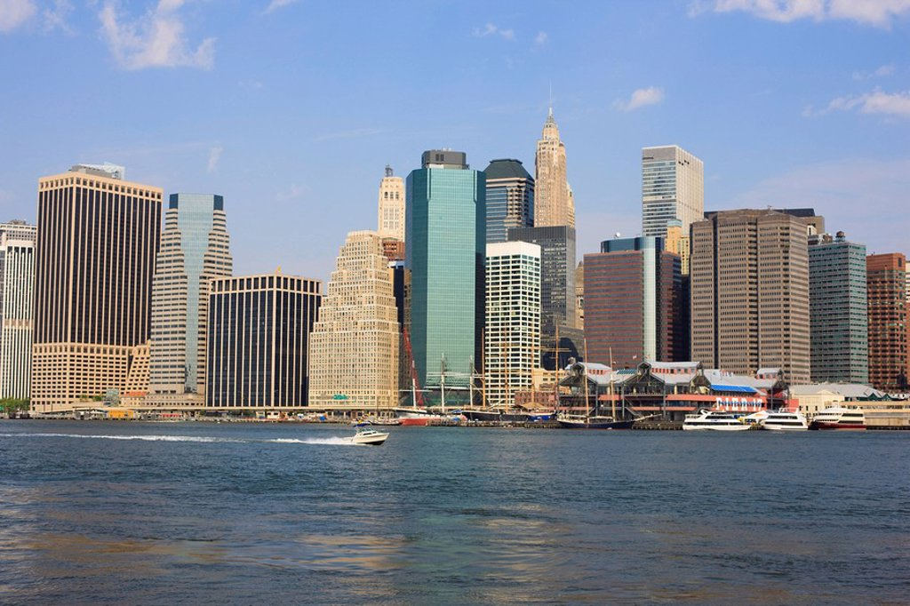 Lower Manhattan skyline and South Street Seaport across the East River, New York City, New York, United States of America, North America : Stock Photo