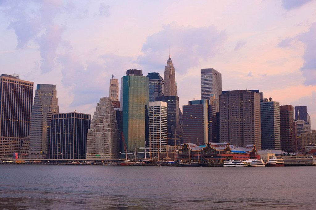 Lower Manhattan skyline at dawn, New York City, New York, United States of America, North America : Stock Photo