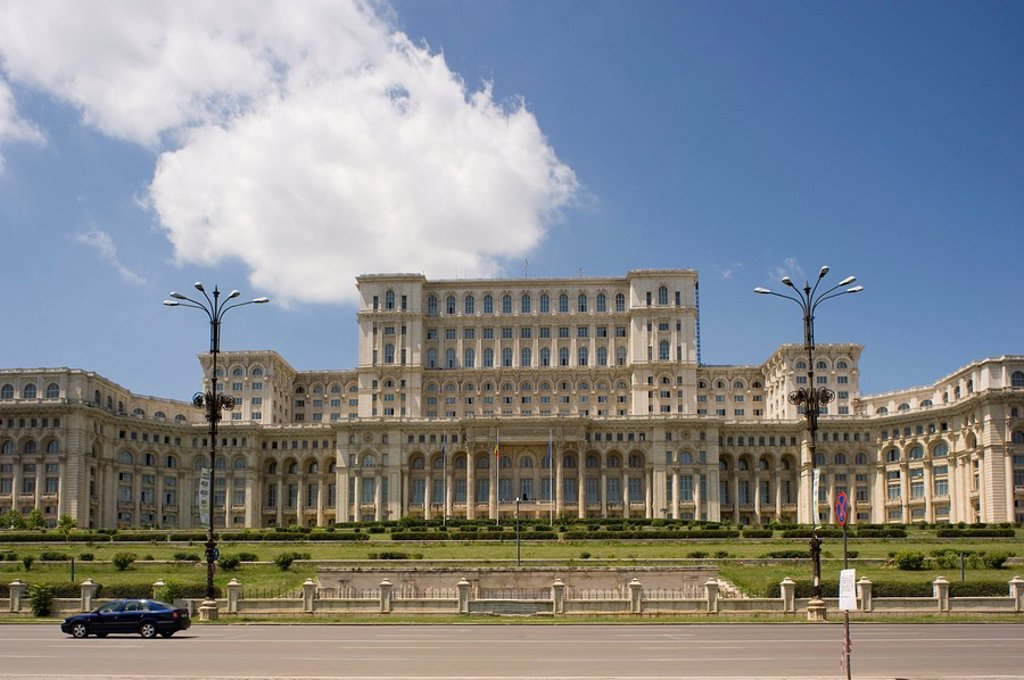 The Palace of Parliament, former president Ceaucescu´s House of the People, Bucharest, Romania, Europe : Stock Photo