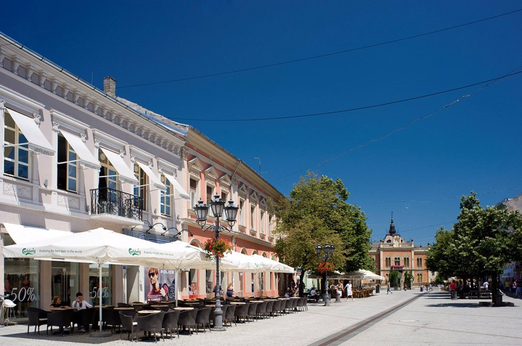 Stock Photo: 1890-94601 Restored buildings and outdoor cafes in the old town section of Novi Sad, Serbia, Europe