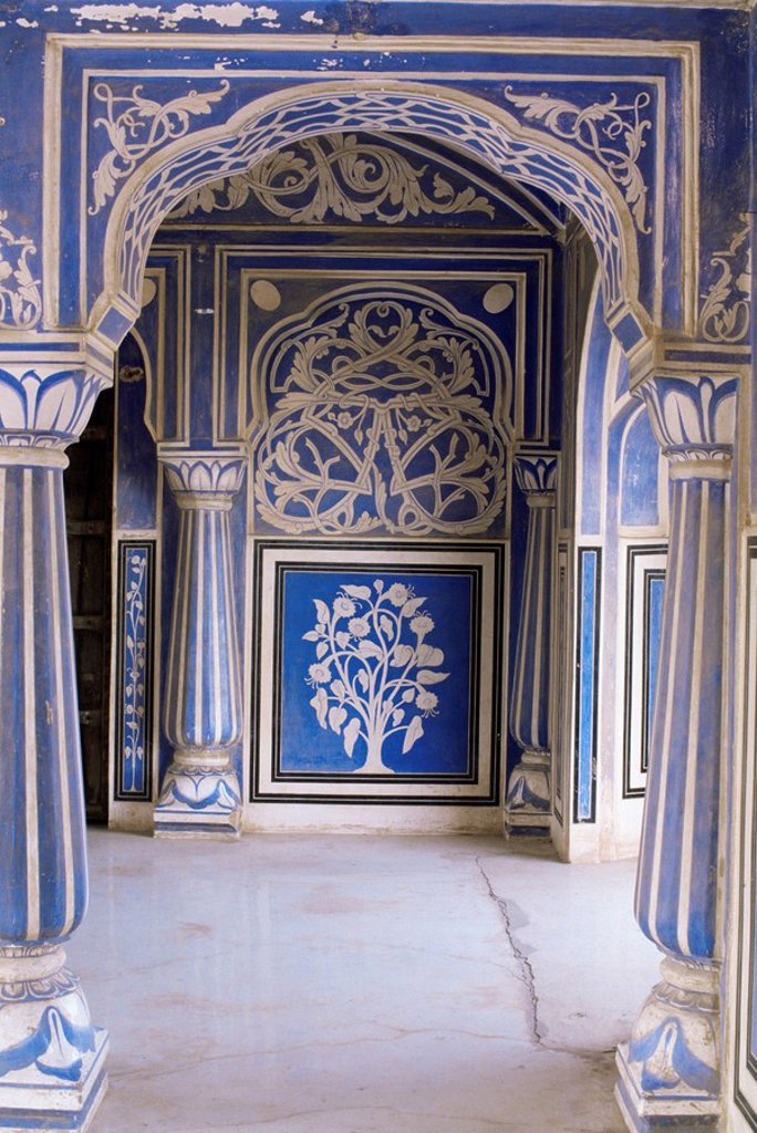 Stock Photo: 1890-9536 Stylized foral motif, chalk blue and white painted Mahal hall, the City Palace, Jaipur, Rajasthan state, India, Asia