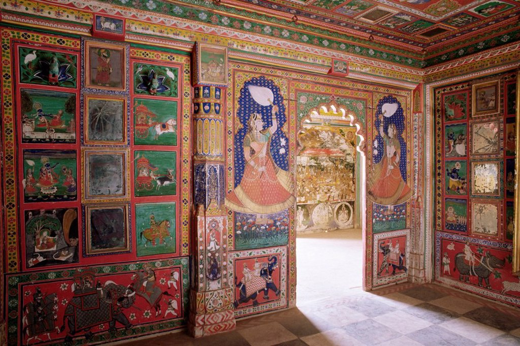 Stock Photo: 1890-9560 Juna Mahal old palace, one of the finest examples of a painted palace, Dungarpur, Rajasthan state, India, Asia