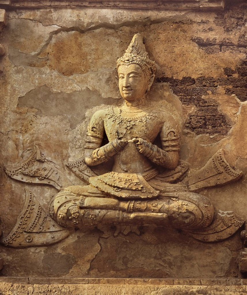 Stucco figure dating from the 16th century, Wat Chedi Ched Yod, Chiang Mai, Thailand, Southeast Asia, Asia : Stock Photo