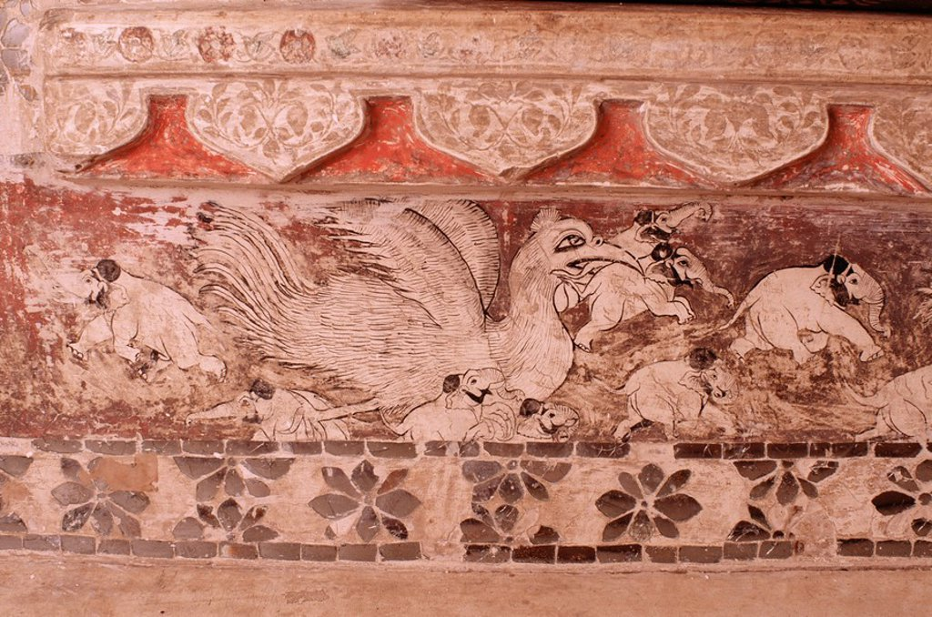 Stock Photo: 1890-9612 Original wall painting, one of the various decorate details to be found throughout the palace, Deo Garh Palace Hotel, Deo Garh Deogarh, Rajasthan state, India, Asia