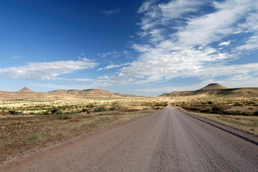 Road leading through Kaokoland, Namibia, Africa : Stock Photo