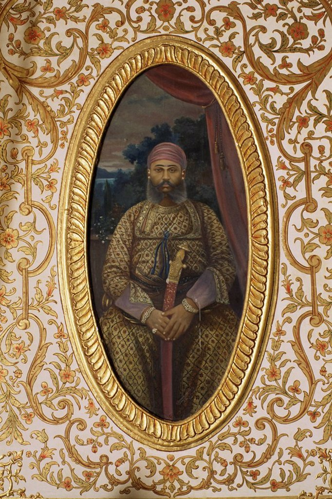 Stock Photo: 1890-9688 Portrait of erstwhile Maharajah or Prince of Sirohi, Sirohi Palace, Sirohi, Southern Rajasthan state, India, Asia