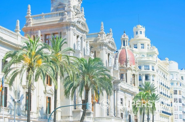 Stock Photo: 1890-96906 Townhall, Plaza del Ayuntamiento. Valencia, Comunidad Autonoma de Valencia, Spain, Europe