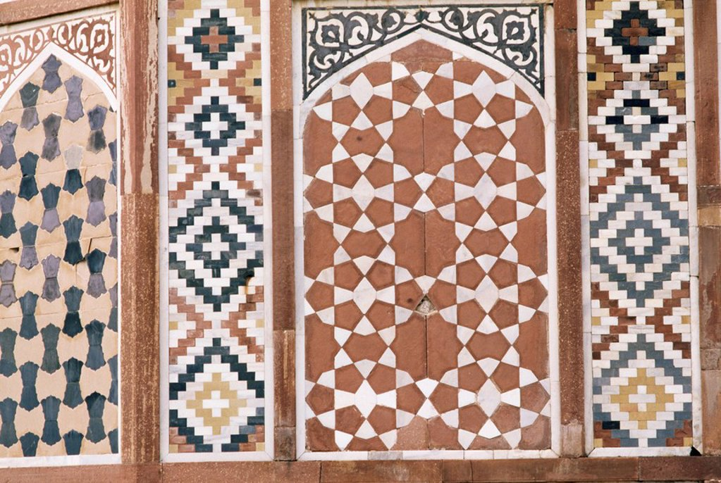 Stock Photo: 1890-9702 Various painted, gilded and stone inlay detail found inside and outside the tomb, the Tomb of Akbar, Sikandra, near Agra, Uttar Pradesh state, India, Asia