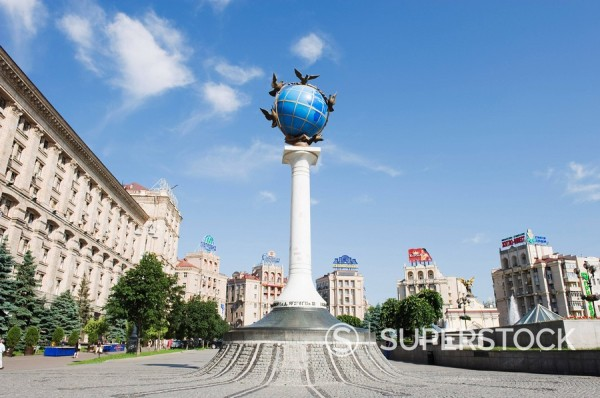 Stock Photo: 1890-97193 Satue of a blue globe with doves of peace, Maidan Nezalezhnosti Independence Square, Kiev, Ukraine, Europe