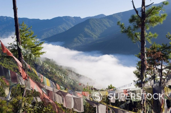 Stock Photo: 1890-97624 Prayer flags above Thimphu, Bhutan, Asia