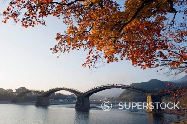 Autumn colours at Kintaikyo bridge, Iwakuni, Yamaguchi Prefecture, Japan, Asia : Stock Photo