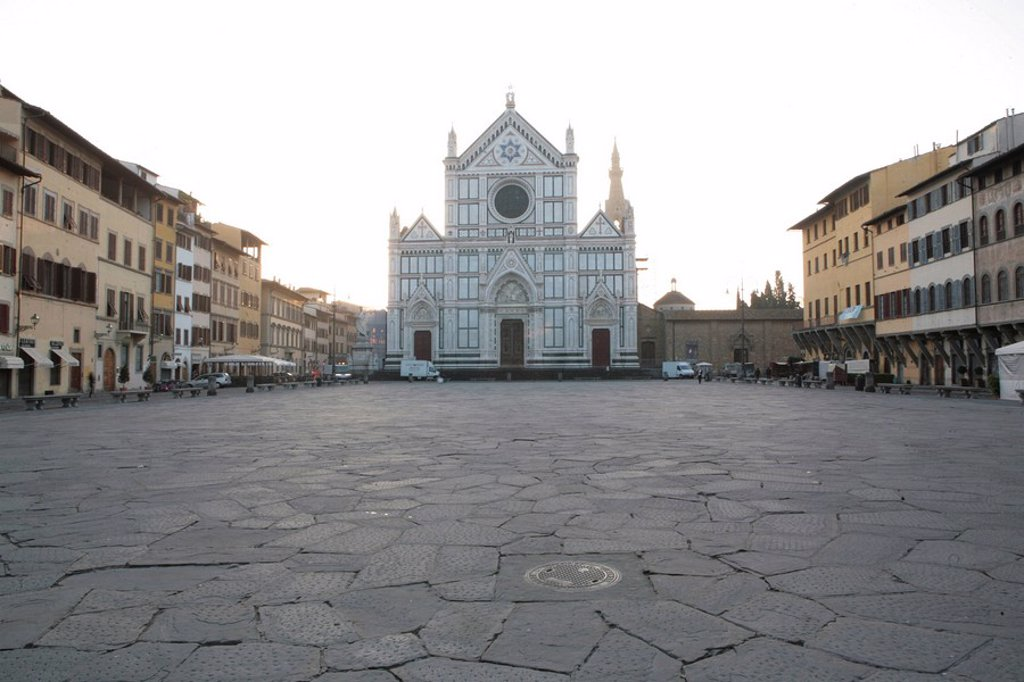 Santa Croce Square, Florence, Tuscany, Italy, Europe : Stock Photo