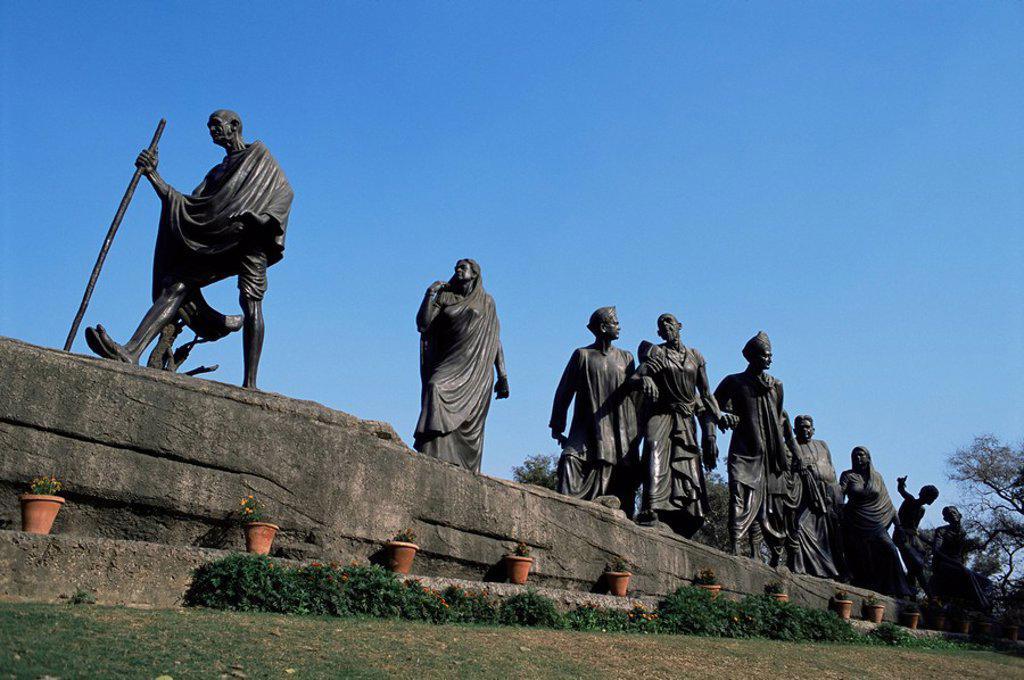 Mahatma Gandhi, The Eleven Statues, Delhi, India, Asia : Stock Photo